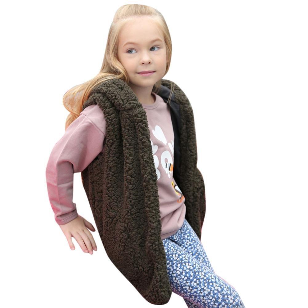 URSING Faux Pelz Weste Baby Mädchen Kapuzenmantel Kid Herbst Winter Warm Outwear Super süße Prinzessin ärmellose Kleidung Fleece Covered Button übergangsjacke Dicken Hoodies Mantel
