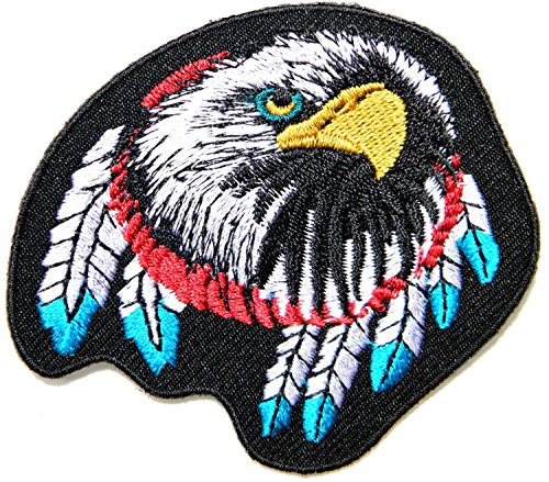 [American Native Indian Feather Bald Eagle Hawk Bird Choppers Lady Rider Biker Tatoo Jacket T-shirt Patch Sew Iron on Embroidered Sign Badge] (Indian Costume No Sew)