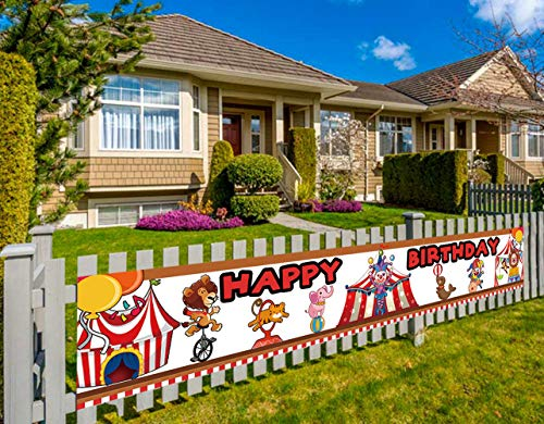 Colormoon Circus Birthday Banner, Large Circus Party Decorations, Carnival Birthday Party Decorations Supplies (9.8 x 1.5 feet)