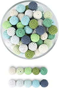 Crochet Teething Beads Organic Toys Food Grade DIY Mix Ball Knit Wood Beads Green Series 20mm 50pc
