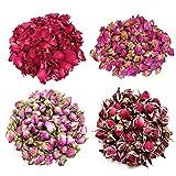 TooGet Flower Petals and Buds Variety Rose 4 Bags includes Rose Petals, Rose Buds, Rosa Damascena, Golden-rim Rose, Green Tea Bulk Flower to make botanical Oil, Perfect For All Kinds of Crafts