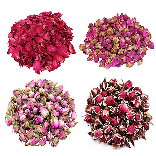 TooGet Flower Petals and Buds Variety Rose 4 Bags includes Rose Petals, Rose Buds, Rosa Damascena, Golden-rim Rose, Green Tea Bulk Flower to make botanical Oil, Perfect For All Kinds of Crafts by TooGet