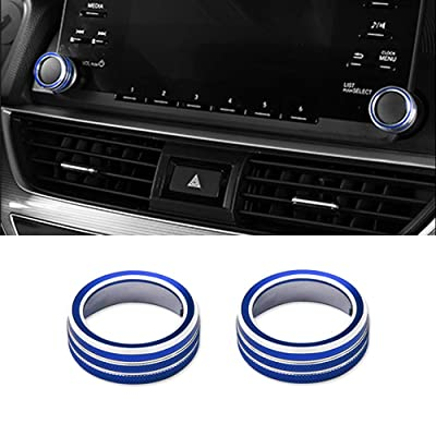 Thor-Ind 2PCS Aluminum Centre Console Sound Volume Knob Cover for 10th Honda Accord Sedan Sport EX EX-L LX 2020 2020 Car Interior Multimedia Volume Audio Button Ring Cover (Volume Knob-Blue): Automotive