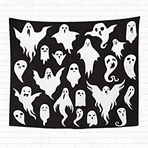 Topyee 50x60 Inch Tapestry Wall Hanging Halloween Ghosts Ghostly Monster with Boo Scary Face Shape Spooky Ghost White Fly Home Decorative Tapestries Wall Blanket for Dorm Living Room Bedroom