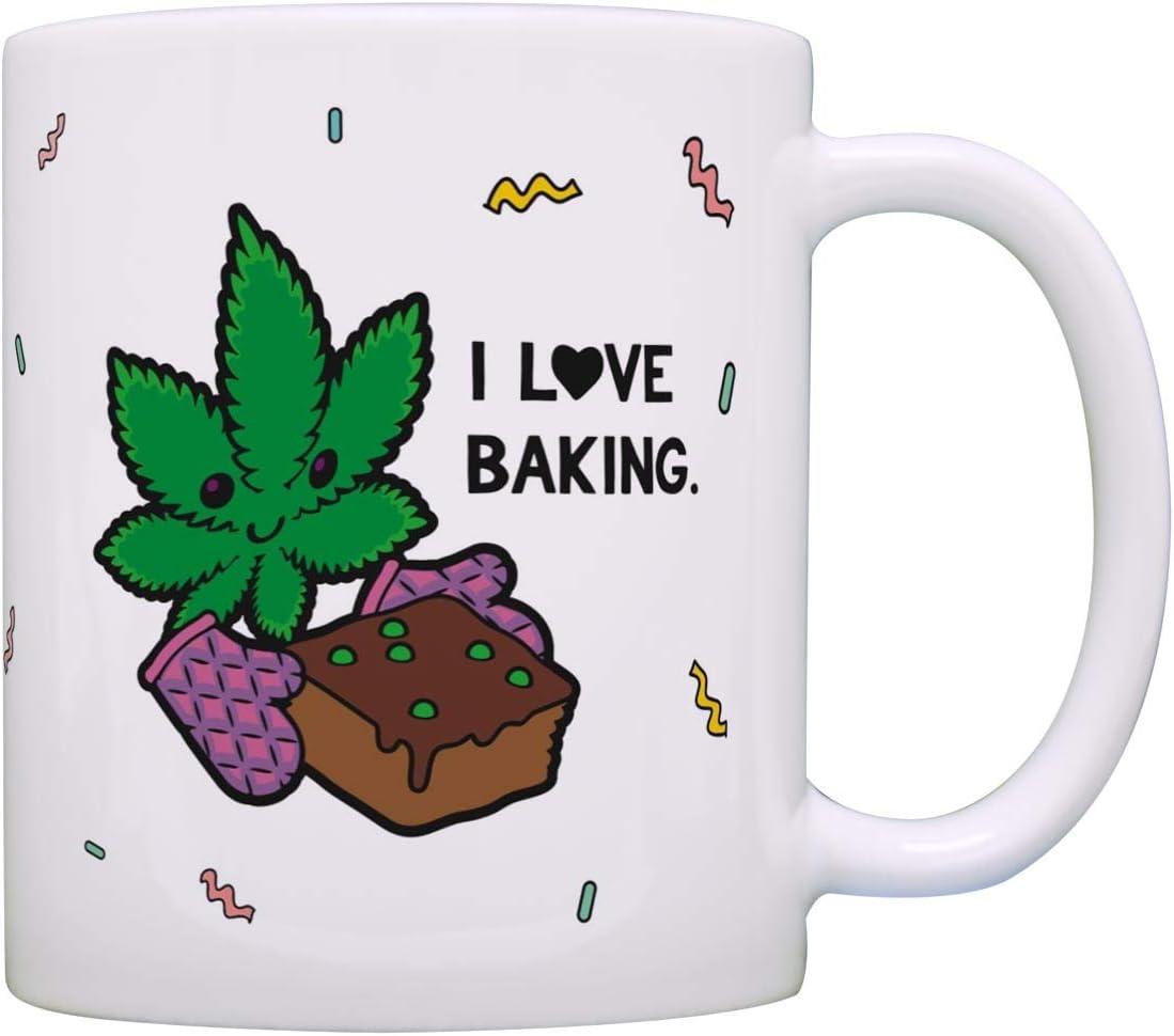 Cute Kawaii Themed Mug Kawaii Marajuana Leaf I Love Baking Coffee Mug Tea Cup White