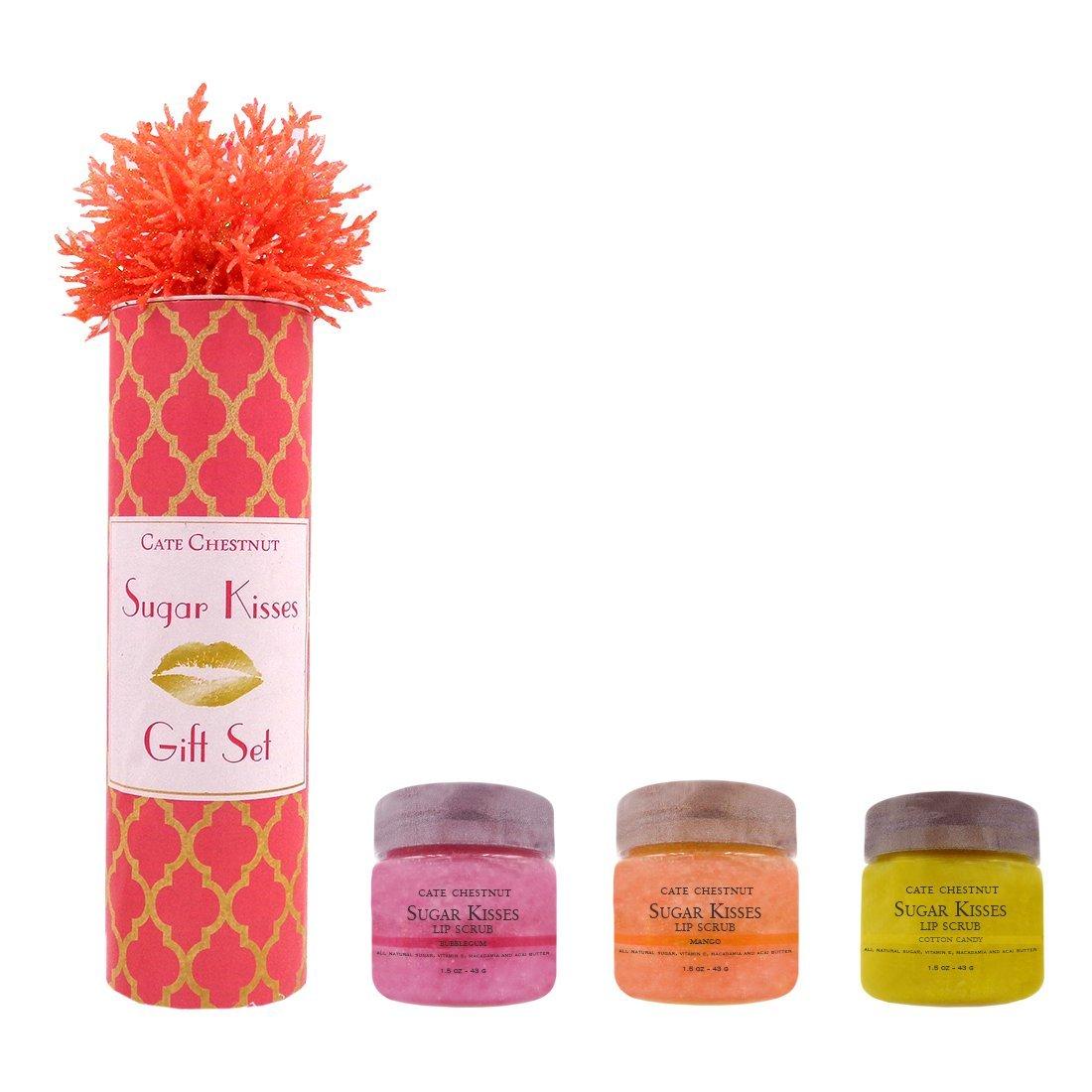 Sugar Kisses Lip Scrub Gift Set 3 Flavors (Bubblegum, Mango, Cotton Candy)