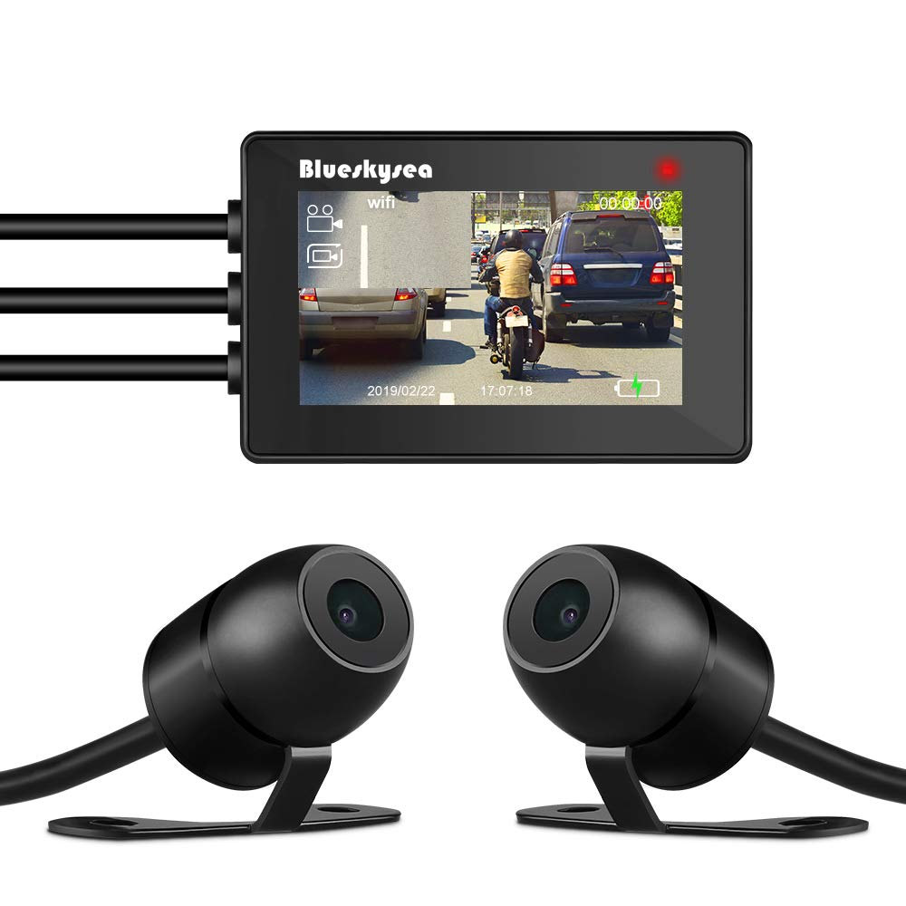 Blueskysea DV688 Camera Moto Enregistrement Video 1080P Double Lentille /Écran 2.35 LCD IP67 /Étanche 130 Degres Angle de Vue Vision Nocturne Dash Cam Moto