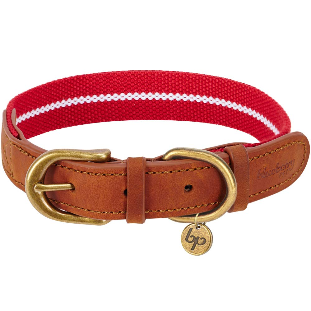 Blueberry Pet Polyester Fabric and Soft Genuine Leather Webbing Dog Collar in Red and White, Large, Neck 46cm-56cm, Adjustable Collars for Dogs B077ZPTGKN Leather & Polyester Collar - Red & White 大型犬 46-56cm x 2.5cm