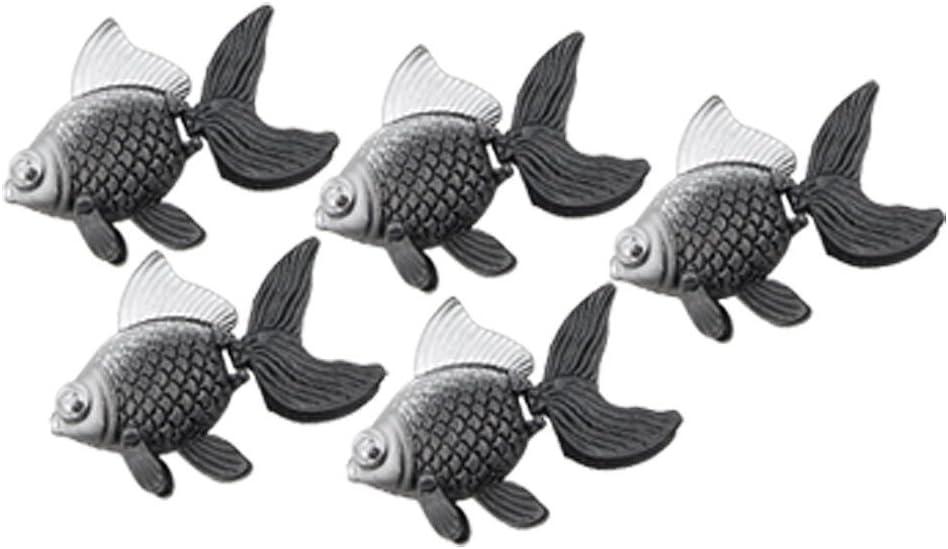 uxcell 5 Piece Plastic Floating Fish Aquarium Décor, Mini, Gray Silver Tone