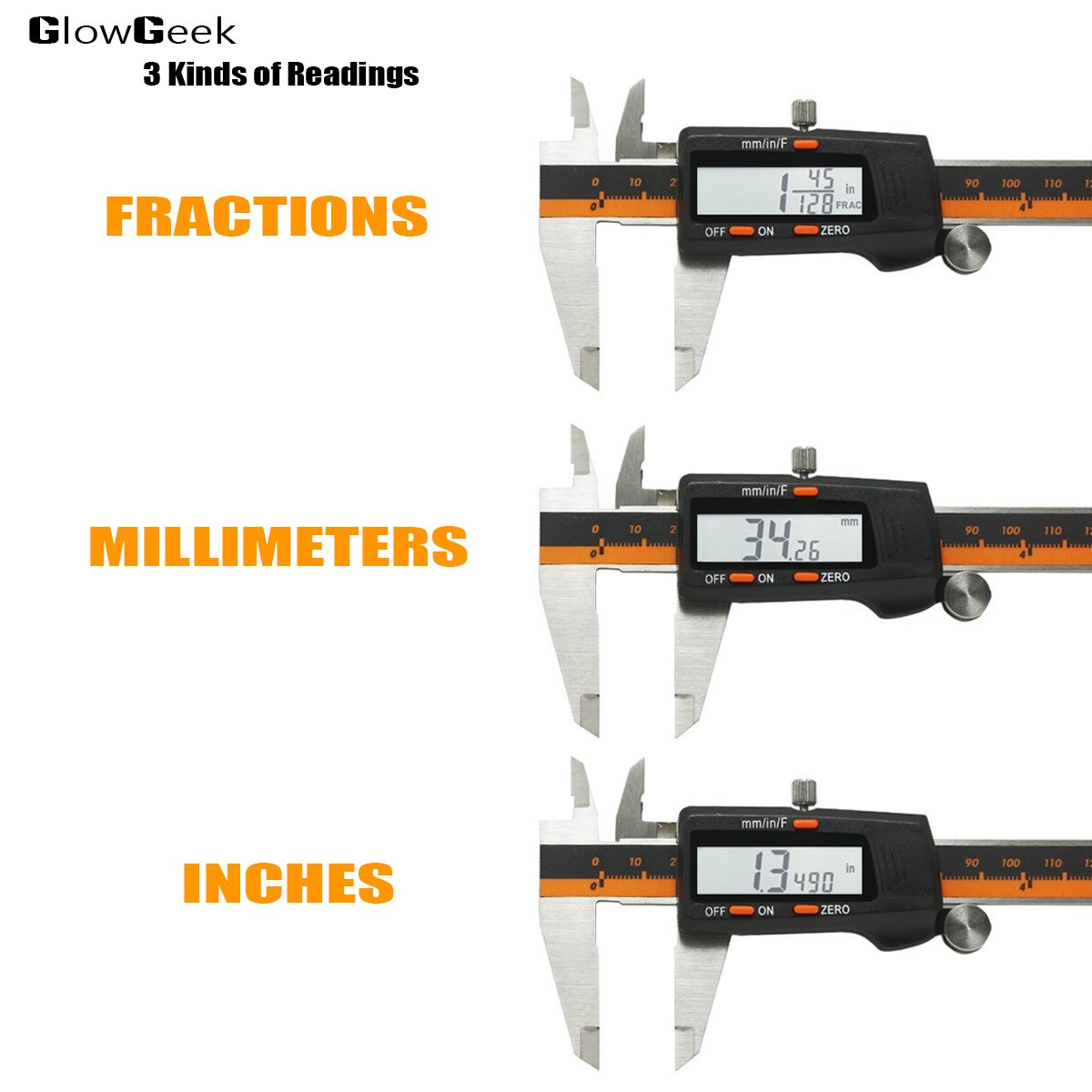 GlowGeek Electronic Digital Caliper Inch/Metric/Fractions Conversion 0-6 Inch/150 mm Stainless Steel Body Orange/Black Extra Large LCD Screen Auto Off Featured Measuring Tool by GlowGeek (Image #2)