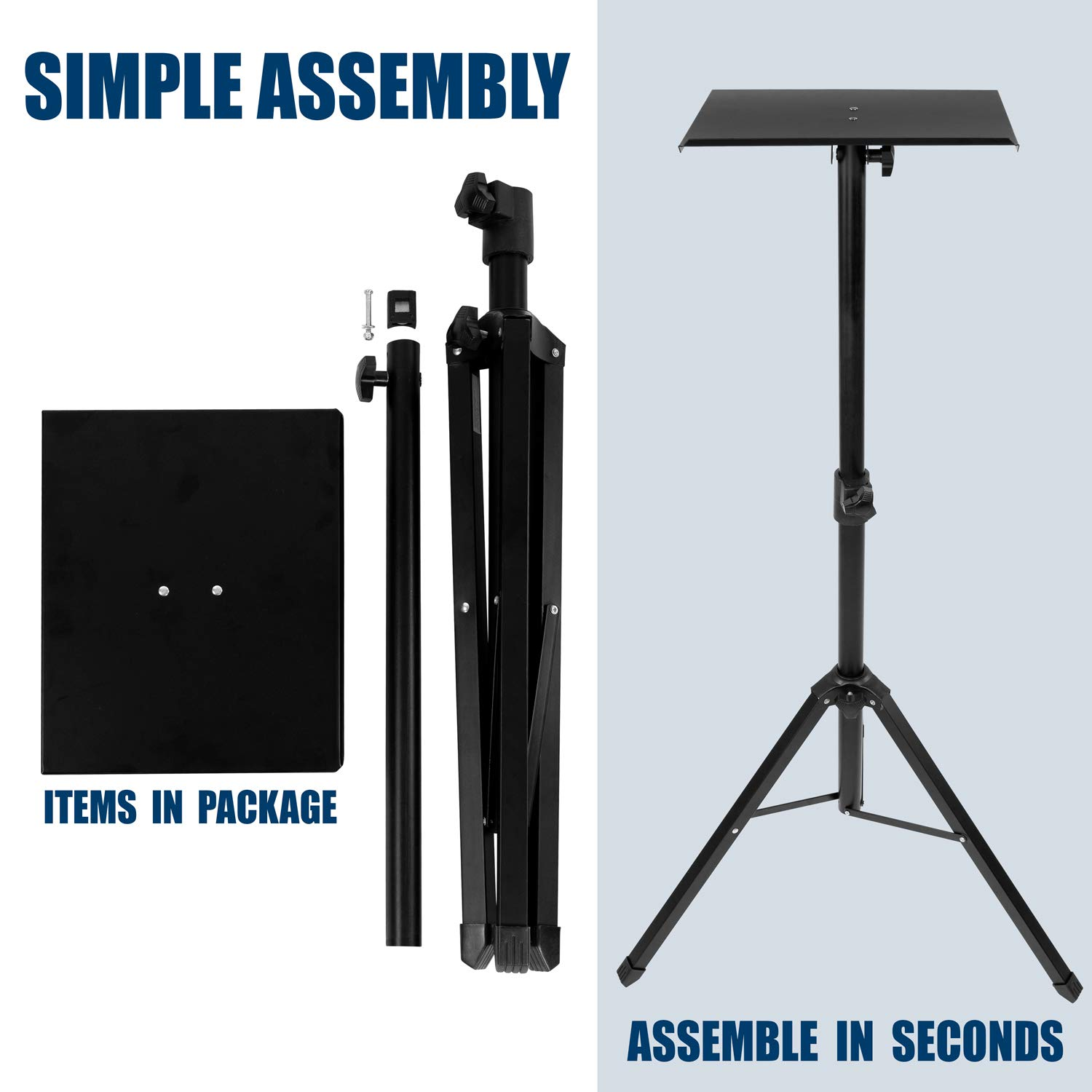 Mount-It! Tripod Projector Stand, Adjustable DJ Laptop Stand with Height and Tilt Adjustment, Portable Laptop Projector Table with Steel Tripod Base and Tray, Black by Mount-It! (Image #6)