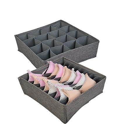 Polecasa Linen Large Bra Underwear Storage Box Drawer Organizer Closet  Large Divider For Socks, Ties