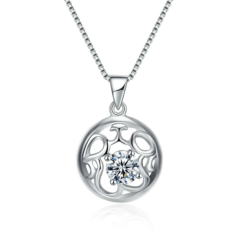 Epinki Women Necklace Sterling Silver Circular Hollow Vine Design White Chain Length 40+4CM