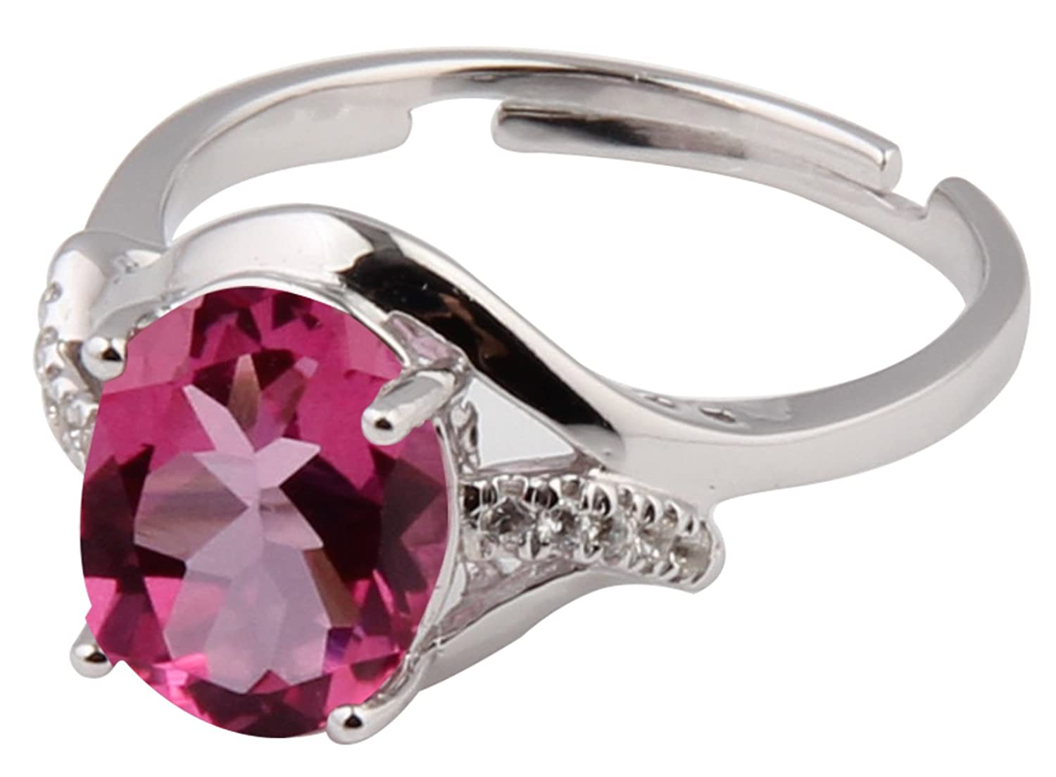 ♥Mother's Day Gift♥Sterling Silver and Natural Pink Topaz Gemstone Ring Gifts for Women for Her