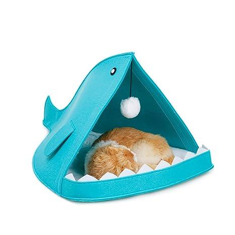 BulzEU - Caseta con Forma de tiburón de Fieltro para Mascotas con cojín y Bola para