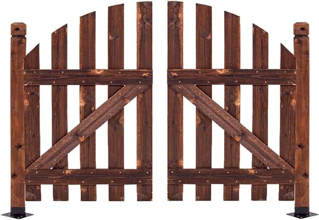 YYFANG Valla Madera Jardín Valla Pequeña Puerta Decorativa Patio Decoración De Jardín Proceso De Carbonización De Alta Temperatura Fácil De Instalar, 2 Tamaños (Color : Brown, Size : 118x90cm): Amazon.es: Hogar