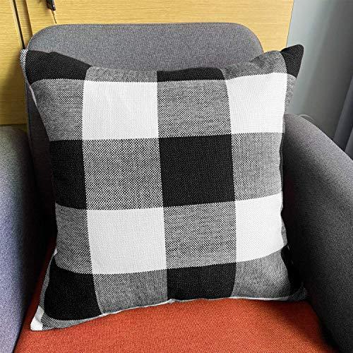 JUEYINGBAILI Throw Pillow Covers 18×18 Decorative Buffalo Check Plaid Pillow Cover - Farmhouse Christmas Square… 4