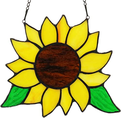 HAOSUM Tiffany Style Stained Glass Sunflower Window Panel Hanging Decoration 5.3 6.2