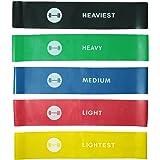 Bandes élastiques Elevons Premium haute qualité ; lot de 5bandes d'exercice pour yoga, Pilates, et entraînement musculaire