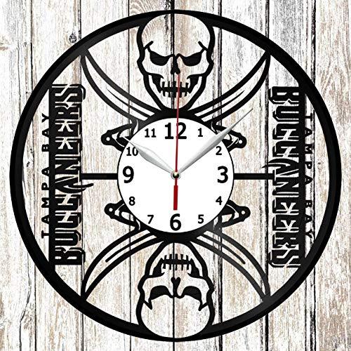 Tampa Bay Buccaneers Vinel Record Wall Clock Home Art Decor Original Gift Unique Design Handmade Vinyl Clock Black Exclusive Clock Fan Art ()
