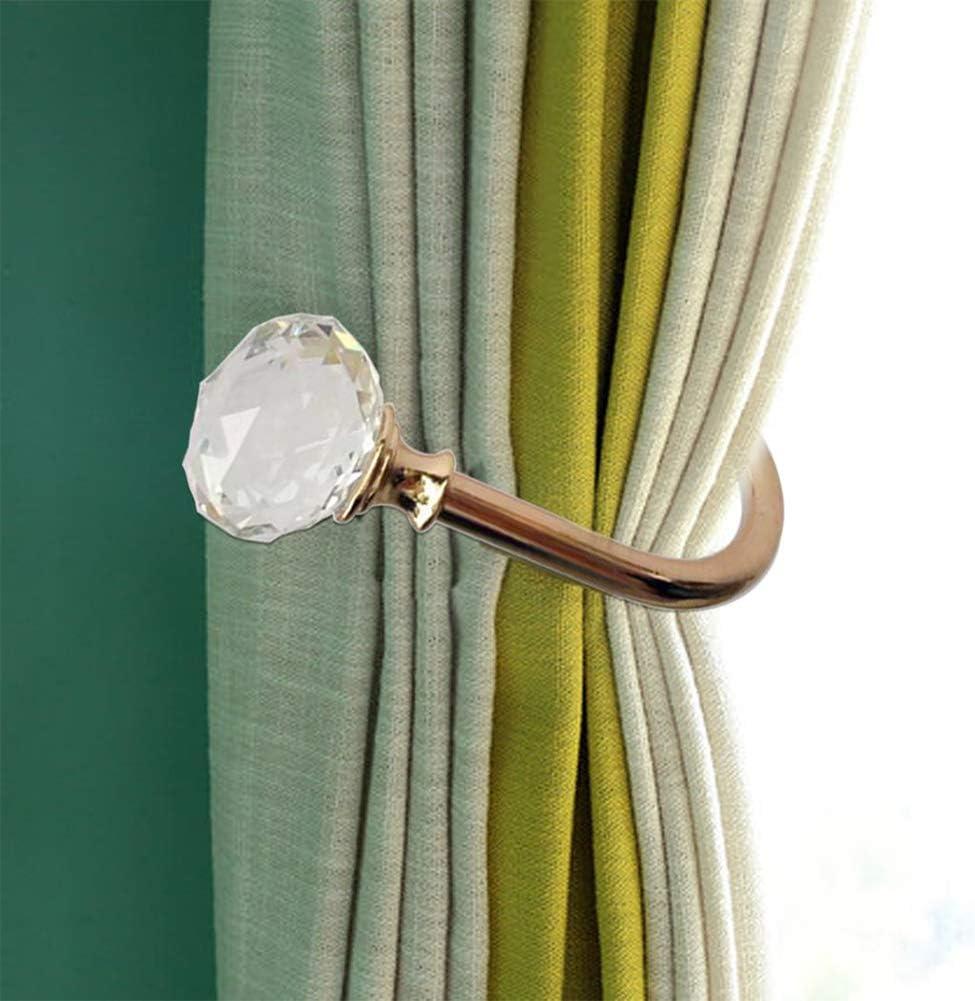 Curtain Holdback 2PCS Tassel Buckle Wall Mounted Home Decor Living om Vintage Hooks Hanger Window U Shaped Crystal Ball Holder Accessories Silver