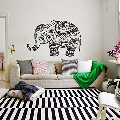 GECKOO Animal Vinyl- Elephant Yoga Wall Decals India Wall Sticker Boho Bedding Vinyl Nursery Wall Art(Large,Black) by MairGwall
