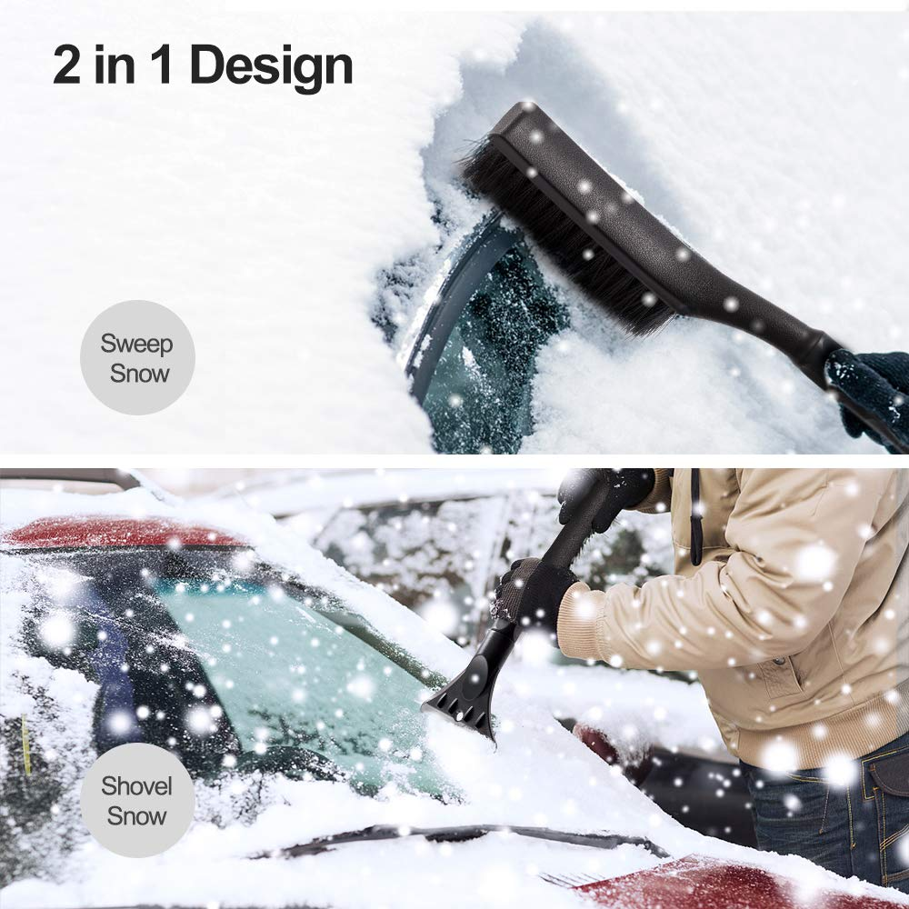 QUEES Snow Brush Ice Scraper 2 in 1 Car Shovel Snow Removal for Car Windshield and Window