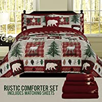 HowPlumb Bear Lodge Comforter Bedding and Deer Sheet Set Cabin Hunting Lodge Bed in Bag, Comforter Set, or Sheet Set