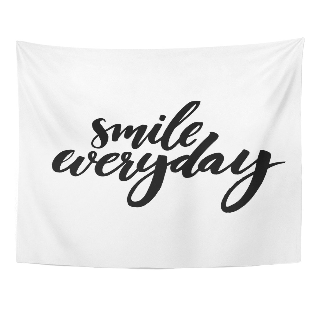 TOMPOP Tapestry Quote Smile Everyday Black Saying on Brush Lettering Positive Home Decor Wall Hanging for Living Room Bedroom Dorm 60x80 Inches