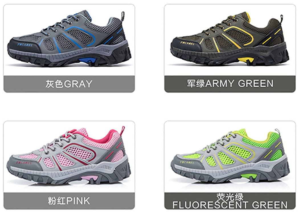 Bessur Men Women Outdoor Hiking Sheos Mixed Color Breathable Mesh Anti-Slippery Climbing Shoes Fluorescent Green