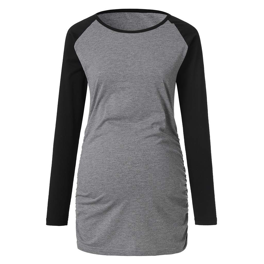 d6db265a8 Amazon.com: Maternity T Shirt, Womens Splice Round Neck Long Sleeve  Pregnant Tops Blouse: Clothing