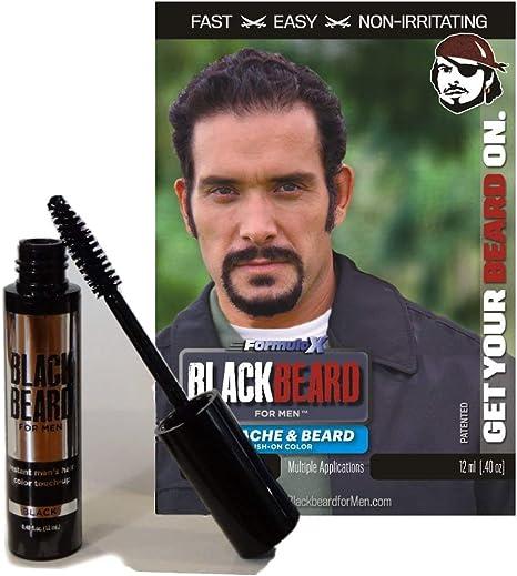 Barba negra para hombres - cepillo temporal en color 12ml (0.1 oz) NEGRO (BLK-BRDBLK)