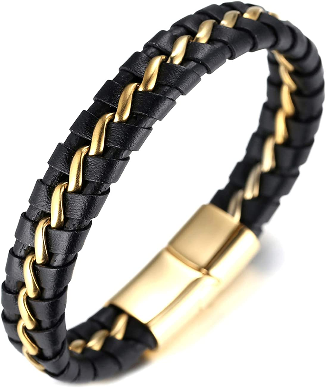 "Halukakah ● Solo ● Men's Genuine Leather Bracelet with Titanium Chain Gun Black/Moonlight Silver/Honor Gold 8.5""(21.5cm)-9""(23cm) with FREE Giftbox"