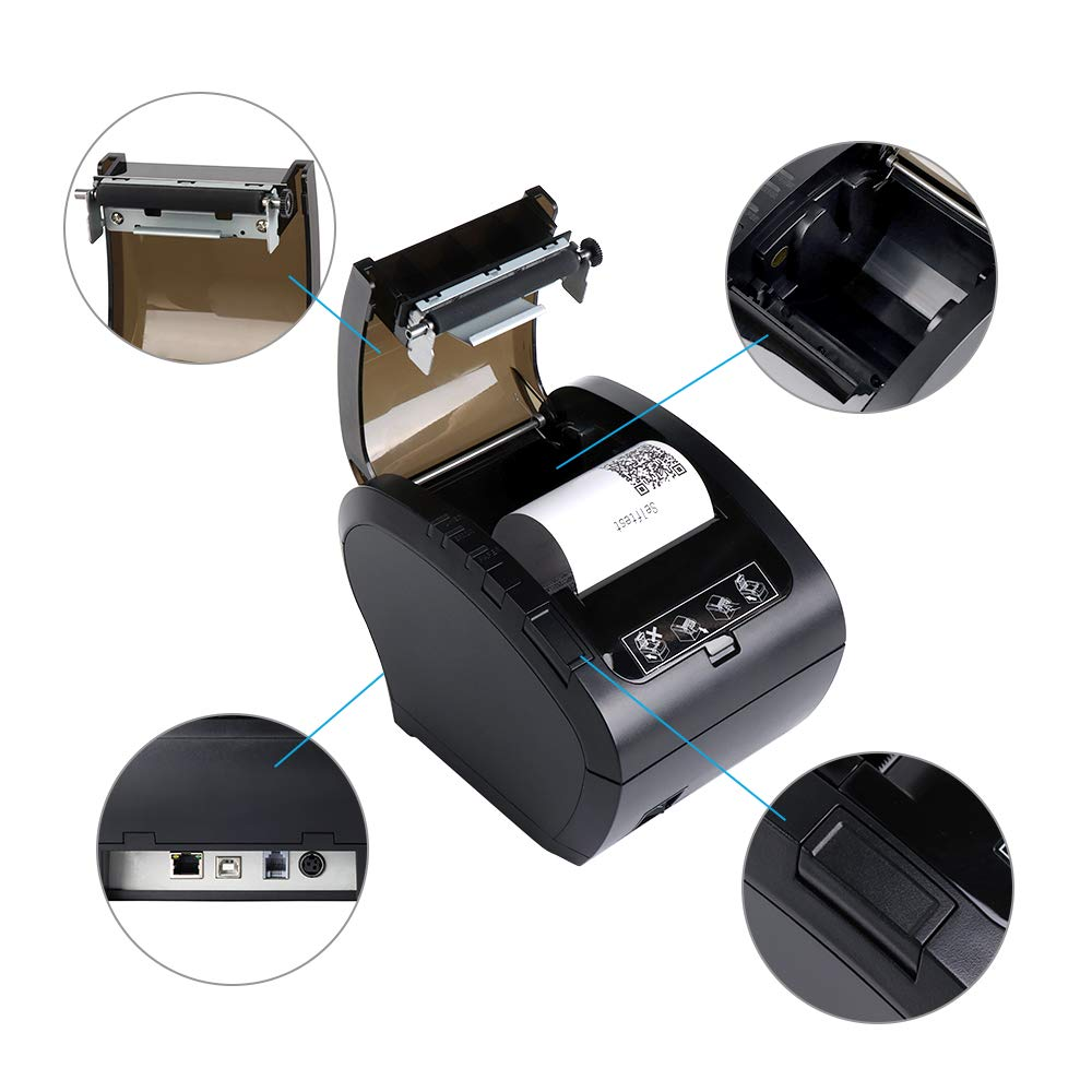 80mm Bluetooth Thermal Receipt Printer MUNBYN POS Printer with USB Ethernet Serial Port for Restaurant Shop Home Business ESC//POS