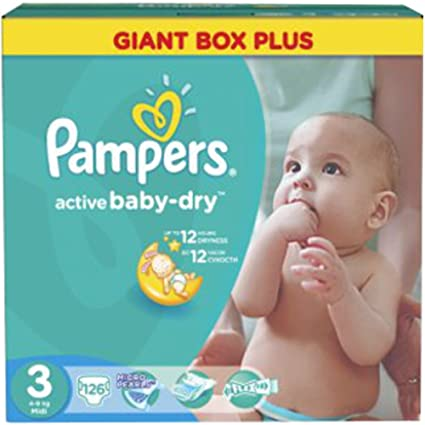 PAMPERS Active Baby Dry Pañales Midi 3 Talla 4 – 9 kg hasta 378 Pañales