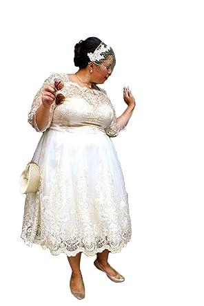 aee770f73b49e Tsbridal Women Wedding Dresses Plus Size Tea Length Lace Country Style Bridal  Gowns at Amazon Women's Clothing store:
