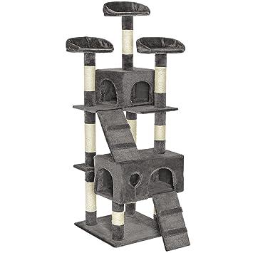TecTake Rascador para gatos Árbol Juguetes para gatos Sisal 170 cm - disponible en diferentes colores - (Gris | no. 401115): Amazon.es: Hogar