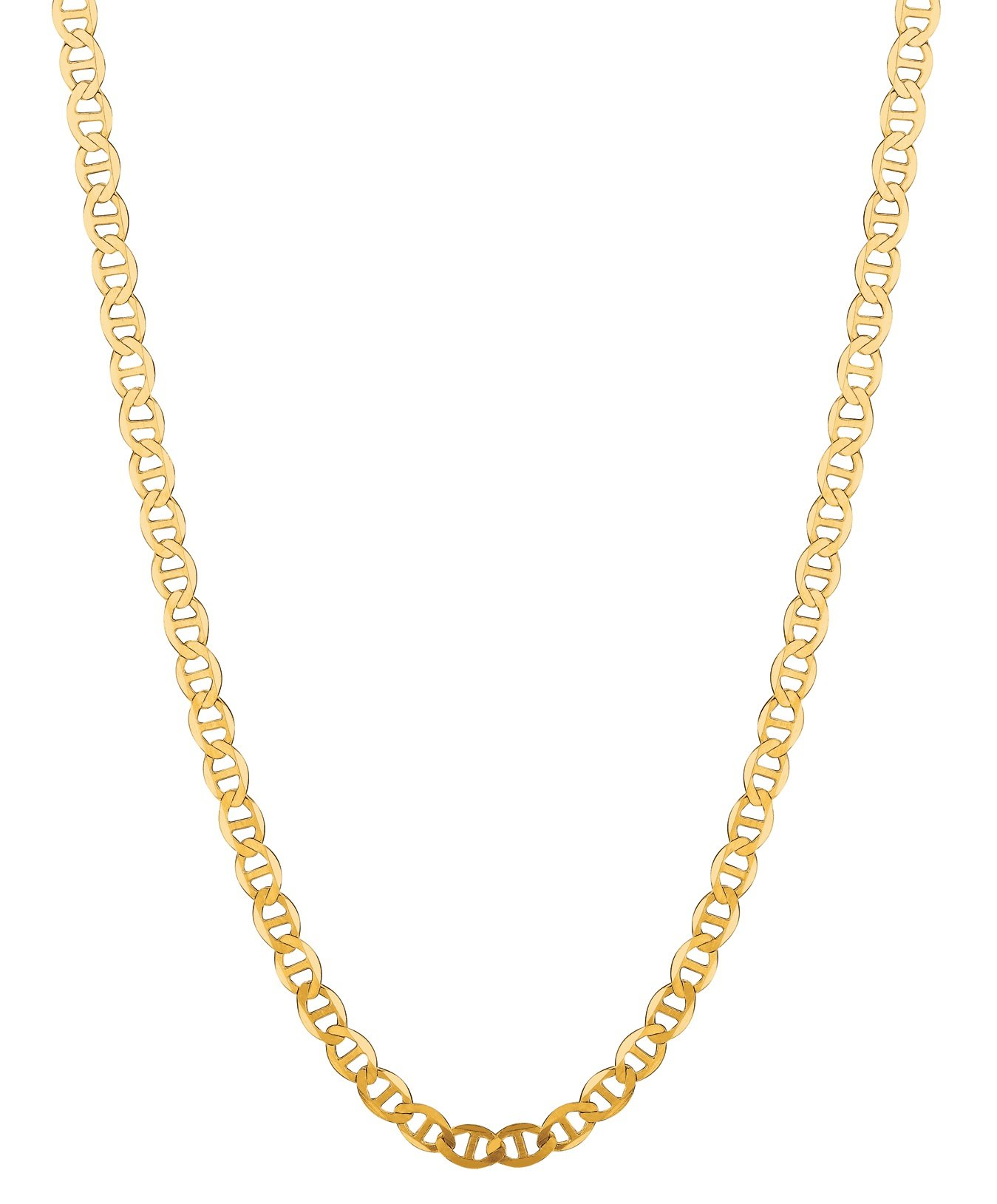 14K Solid Yellow Gold Anchor Mariner Link Chain Necklace 3.2 Mm 16''-24'' (M080 (16 Inches)