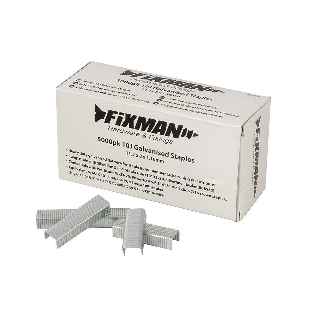 Fixman 470282 Lot de 5 000 agrafes galvanisé es 10J 11, 2 x 8 x 1, 16 mm