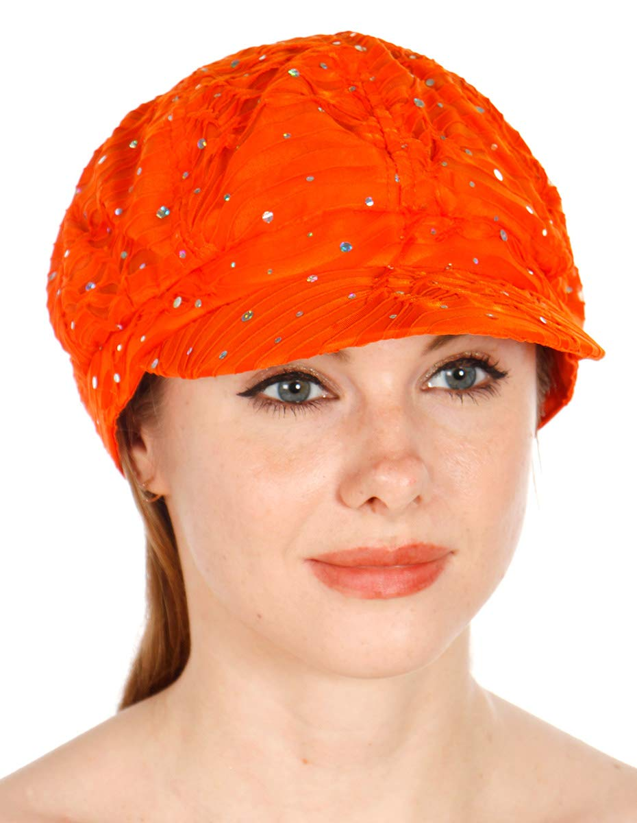 Sequin newboy Cabbie hat with Visor, for Women, Summer Gatsby Cap, Chemo hat Orange