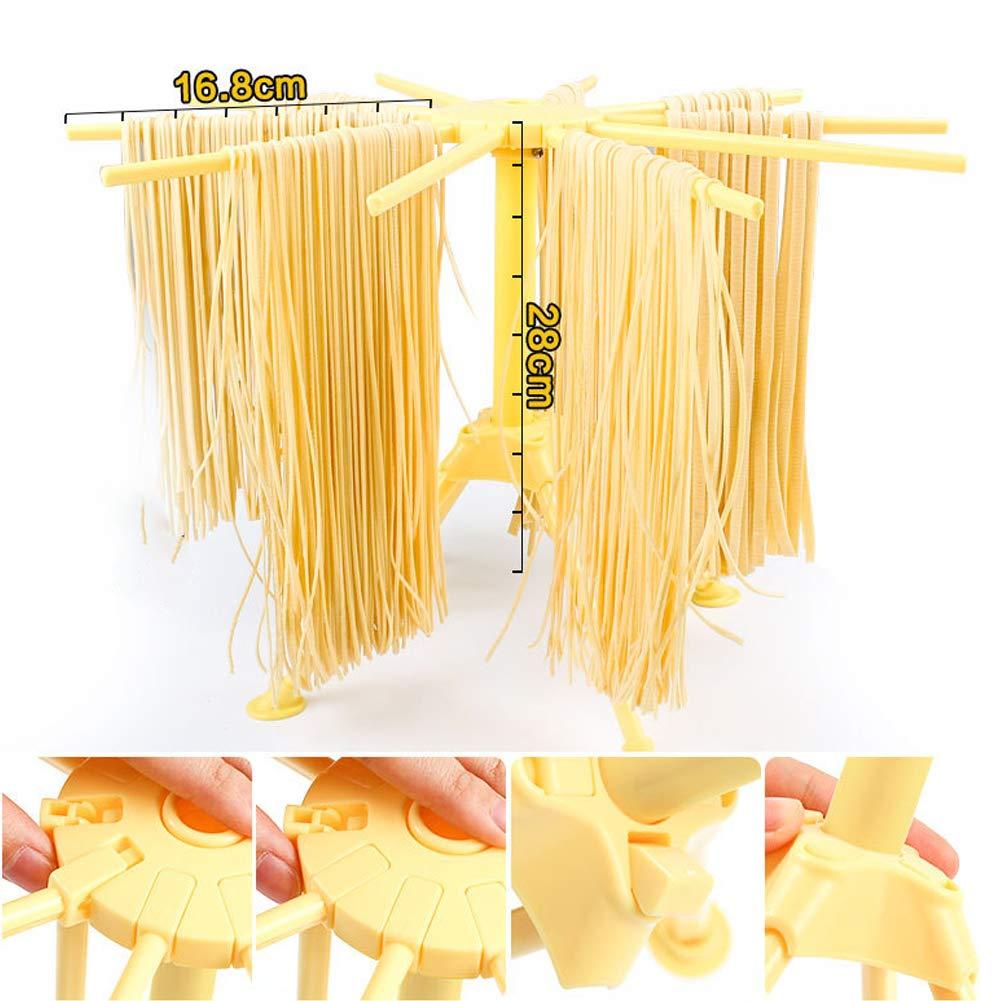 pieghevole con 10 manici facile da riporre e da installare Taglia libera bianco per spaghetti e spaghetti Stendipasta Homemade