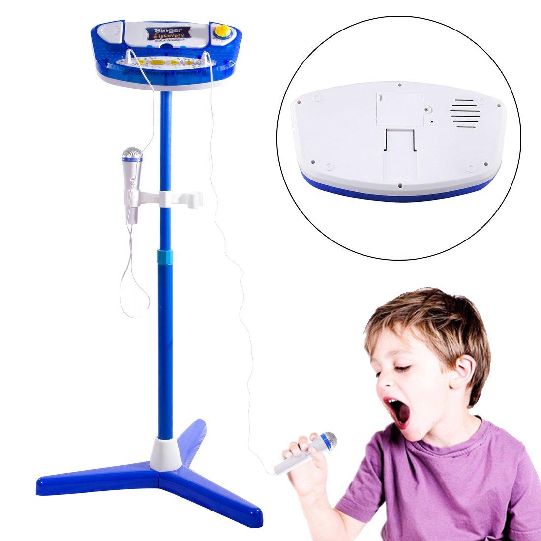 Foxom Karaoke Maschine, 45-97cm Verstellbar Kinder Bluetooth Karaoke Player with 2 Mikrofon Musik Spielzeug Karaoke Set