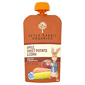Peter Rabbit Organics, Apple, Sweet Potato, and Corn, 4.4 Ounce Pouches, Pack of 10