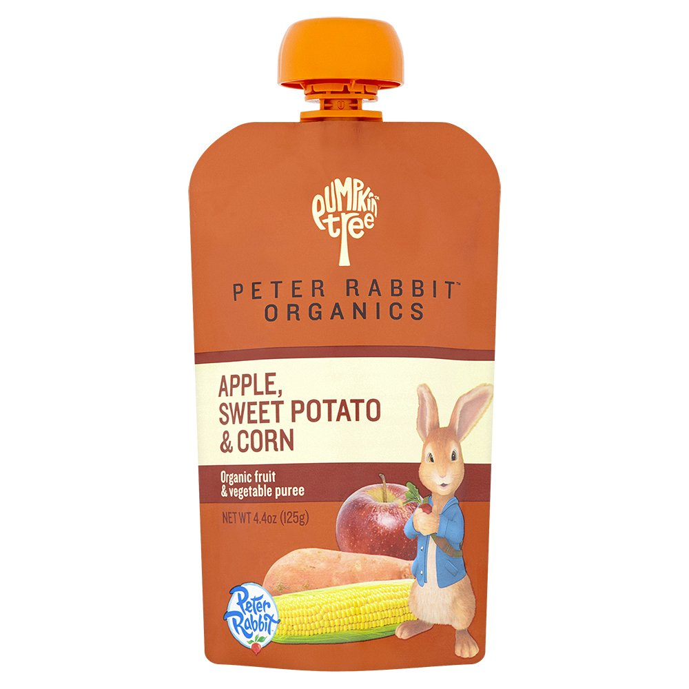 Peter Rabbit Organics Apple, Sweet Potato and Corn Puree, 4.4-Ounce Pouches (Pack of 10)