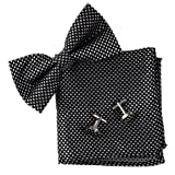 BT2077 Black Checker Classic Silk Pre-tied Bowtie Cufflink Hanky Excellent Luxury Gifts Ideas For Husband By Epoint
