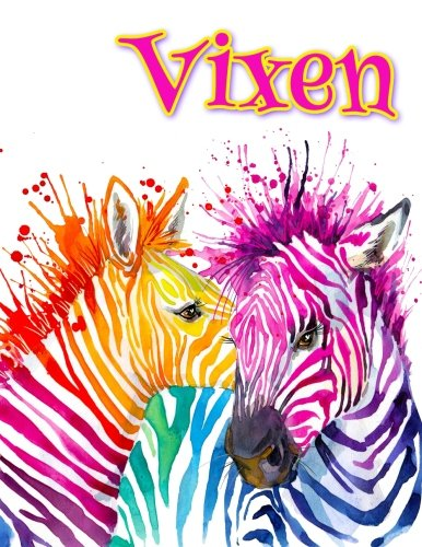 Vixen: Rainbow Zebras, Personalized Journal, Diary, Notebook, 105 Lined Pages, Christmas, Birthday, Friendship Gifts for Girls, Teens and Women, Book Size 8 1/2