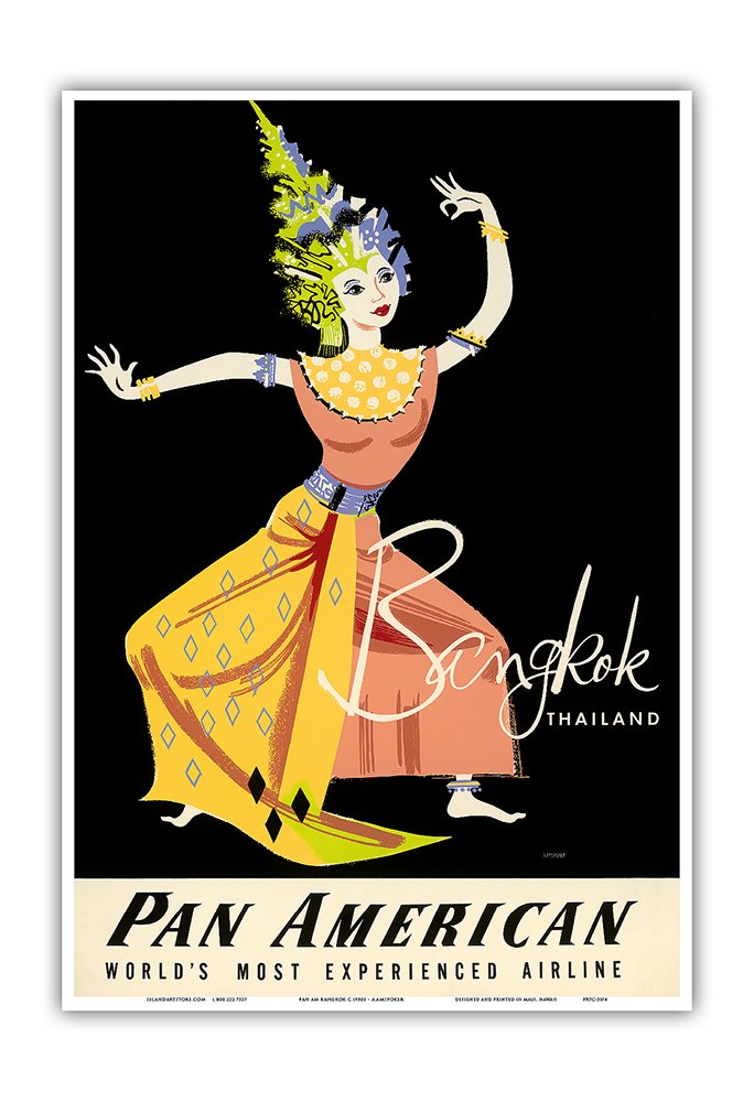 Bangkok, Thailand - Pan American Airlines (PAA) - Thai Woman Classical Dancer - Vintage Airline Travel Poster by A. Amspoker c.1950s - Master Art Print - 13in x 19in by Pacifica Island Art