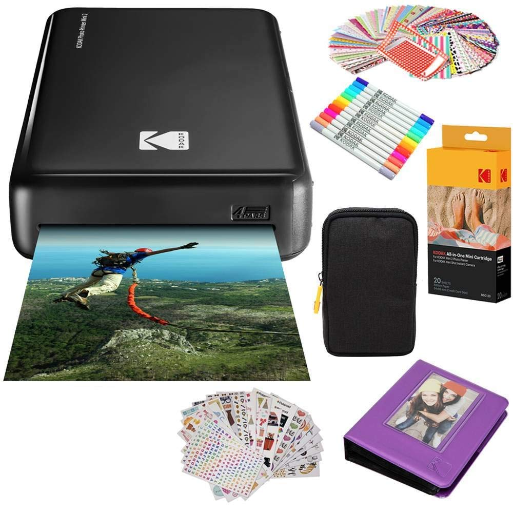 Kodak Mini2 Instant Photo Printer (Black) Gift Bundle + Paper (20 Sheets) + Deluxe Case + 7 Fun Sticker Sets + Twin Tip Markers + Photo Album + Hanging Frames by KODAK