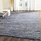Safavieh Rag Rug Collection RAR121C Hand Woven Ink and Multi Cotton Area Rug, 8 feet by 10 feet (8' x 10')