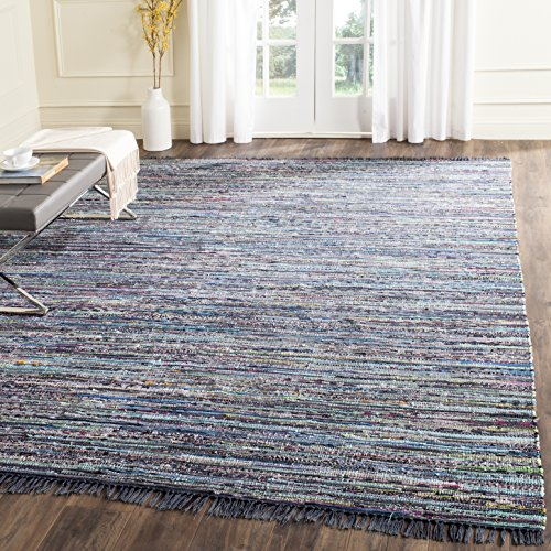 Safavieh Rag Rug Collection RAR121C Hand Woven Ink and Multi Cotton Area Rug (4' x (Arts & Crafts Rug)